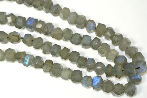 Labradorite Blue Sheen Faceted Nugget 5x6mm 3 Pieces