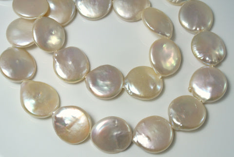 Freshwater Pearl Natural Color Coin 15mm 6 Pieces