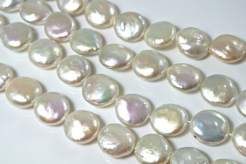 Freshwater Pearl Natural Color Coin 12mm 6 Pieces