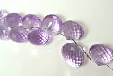 Amethyst Rose de France Onion Briolette Faceted Drop 10x12mm 1 Piece