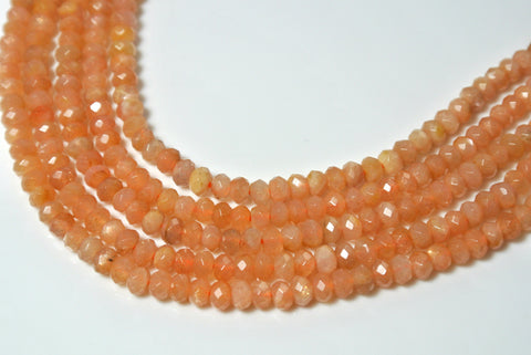 Sunstone Faceted Rondelle 2x4mm