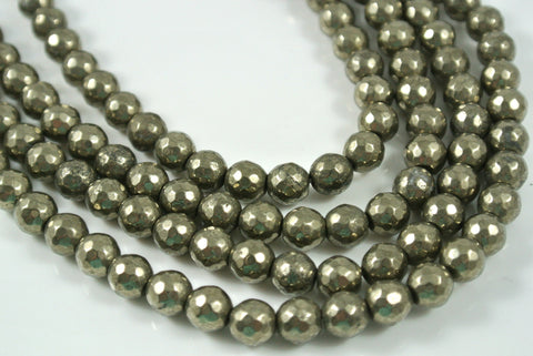 Pyrite Faceted Round 6mm