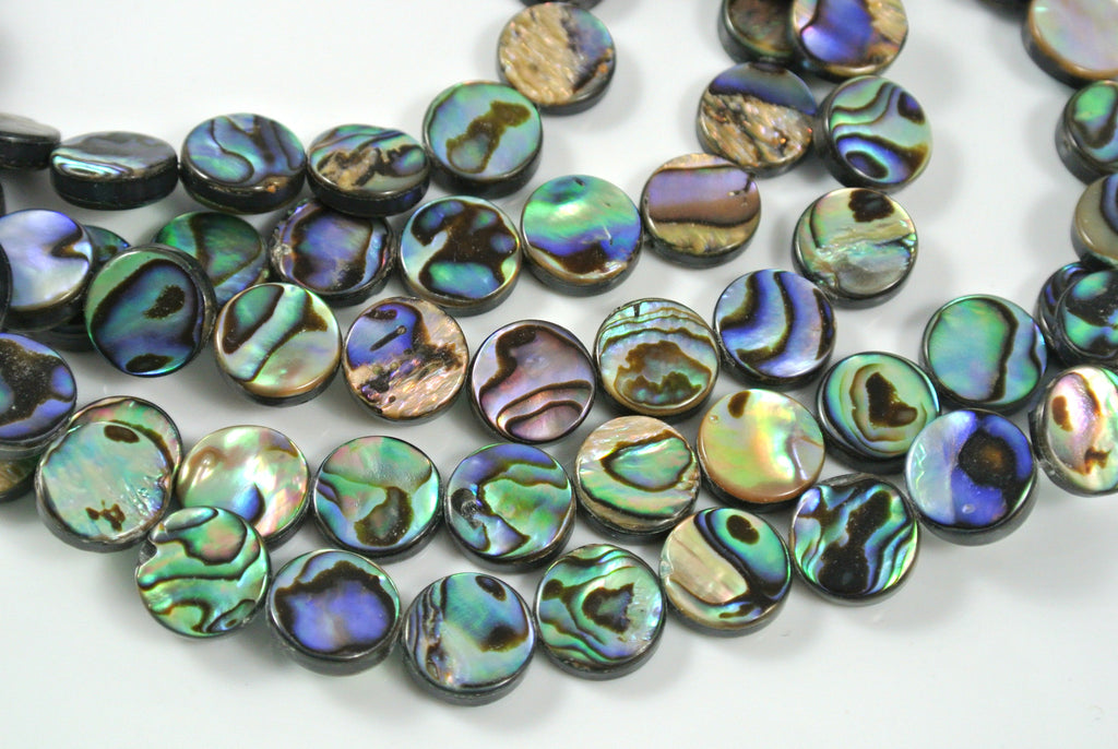 Abalone Flat Coin 10mm 10 Pieces