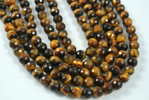 Tiger Eye Round Faceted 6mm