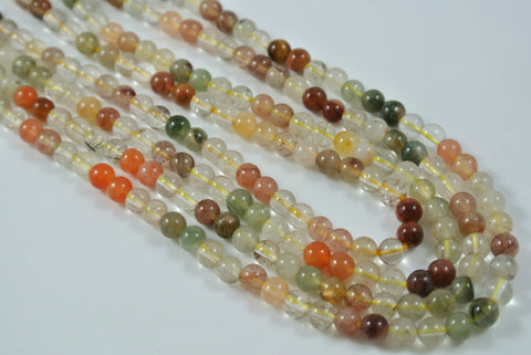 Rutilated Quartz Multi Color Round 4mm