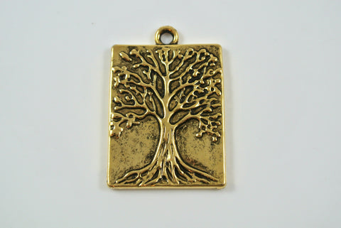 Tree of Life Pendant Rectangle Antique Gold 22x28mm