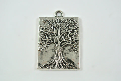 Tree of Life Pendant Rectangle Silver 22x28mm