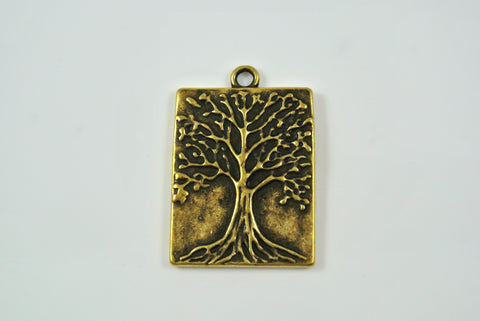 Tree of Life Pendant Rectangle Antique Brass 22x28mm