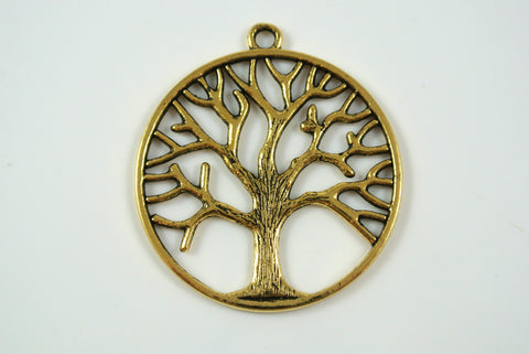 Tree of Life Pendant Round Antique Gold 34mm