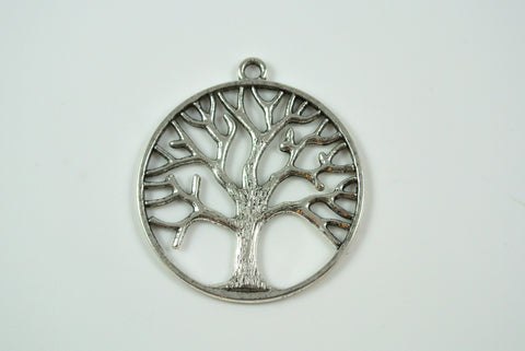 Tree of Life Pendant Round Silver 34mm