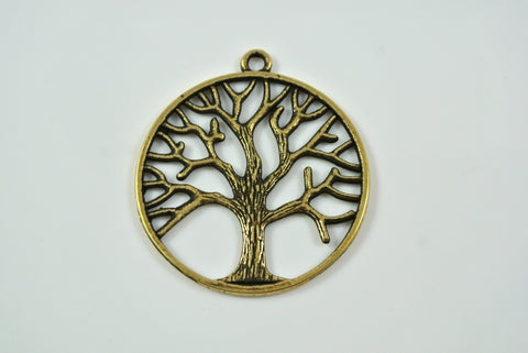 Tree of Life Pendant Round Antique Brass 34mm