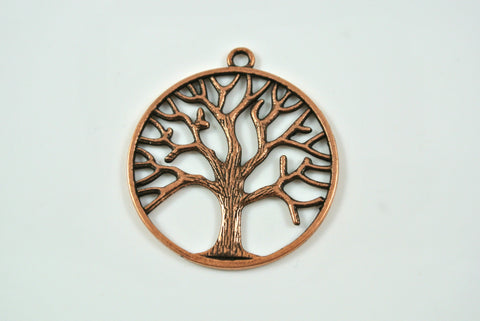 Tree of Life Pendant Round Antique Copper 34mm
