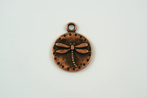 Dragonfly Charm Round Antique Copper 15mm 1 Piece