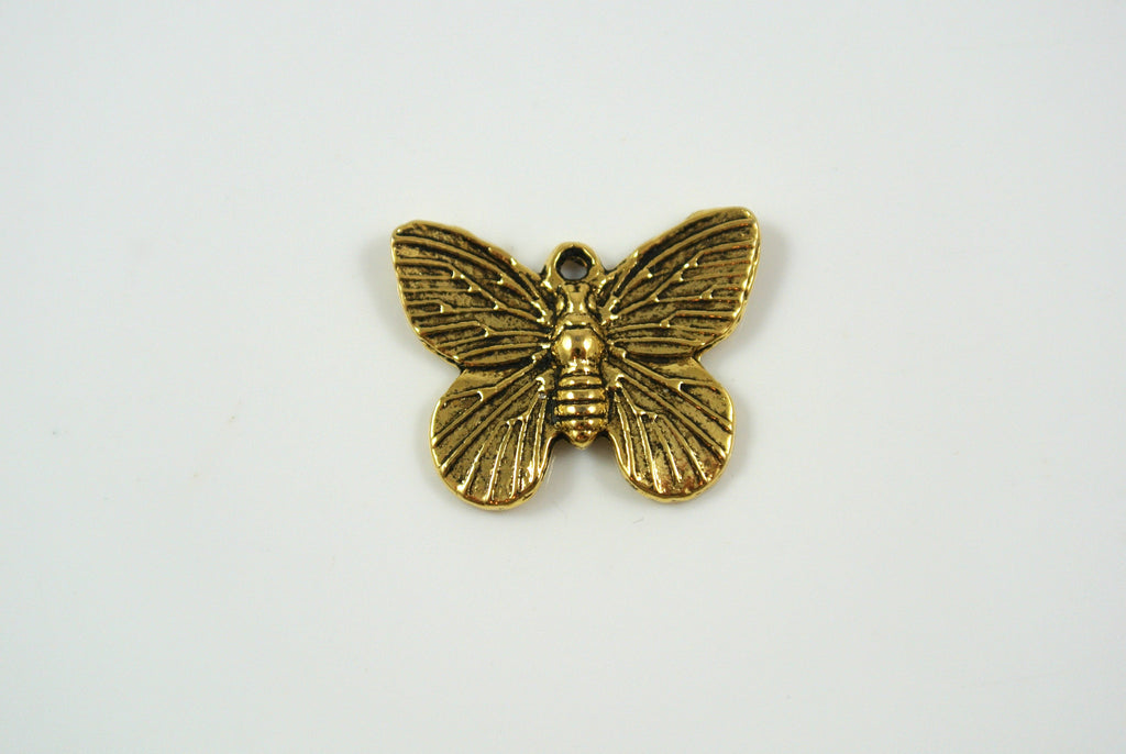 Butterfly Charm Antique Gold 15x18mm 1 Piece