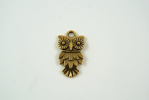 Owl Charm Antique Gold 11x20mm 1 Piece
