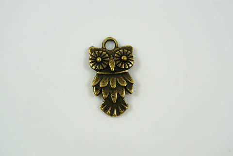 Owl Charm Antique Brass 11x20mm 1 Piece