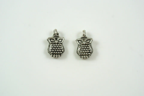 Owl Charms Silver 7x12mm 2 Pieces