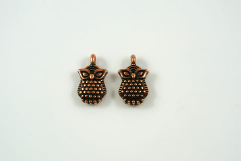 Owl Charms Antique Copper 7x12mm 2 Pieces