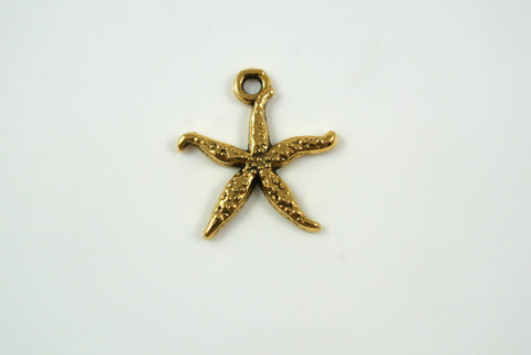 Starfish Charm Antique Gold 18mm 1 Piece