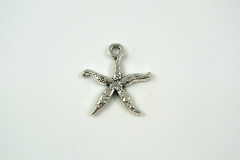 Starfish Charm Silver 18mm 1 Piece