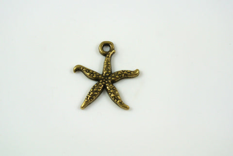 Starfish Charm Antique Brass 18mm 1 Piece