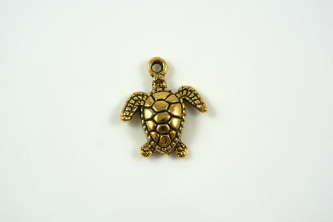 Sea Turtle Antique Gold 15x18mm 1 Piece