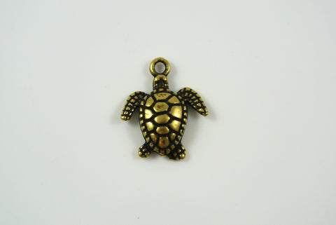 Sea Turtle Antique Brass 15x18mm 1 Piece