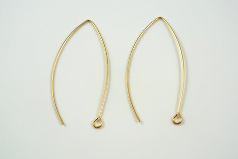 Earwires Long Hook Gold Electroplated 5 Pairs