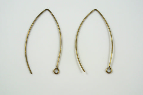 Earwires Long Hook Antique Brass Electroplated 5 Pairs