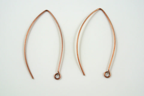 Earwires Long Hook Antique Copper Electroplated 5 Pairs