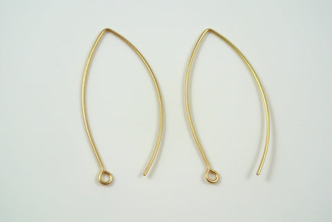 Earwires Long Hook Satin Gold Electroplated 5 Pairs