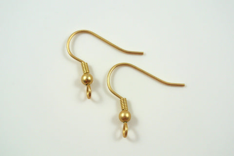 Earwires Coil With Ball Satin Gold Electroplated 5 Pairs