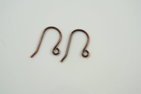 Earwires Plain With Loop Antique Copper Electroplated 5 Pairs