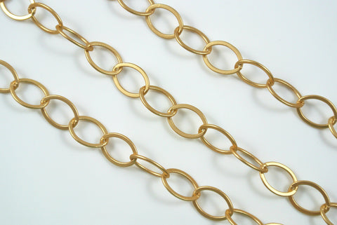 Chain Flat Oval Satin Gold 12x9mm Links