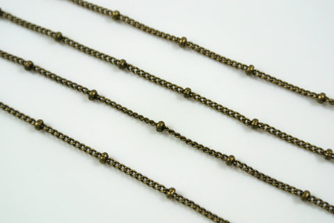 Chain Satellite Antique Brass 0.7mm Curb With 2mm Ball