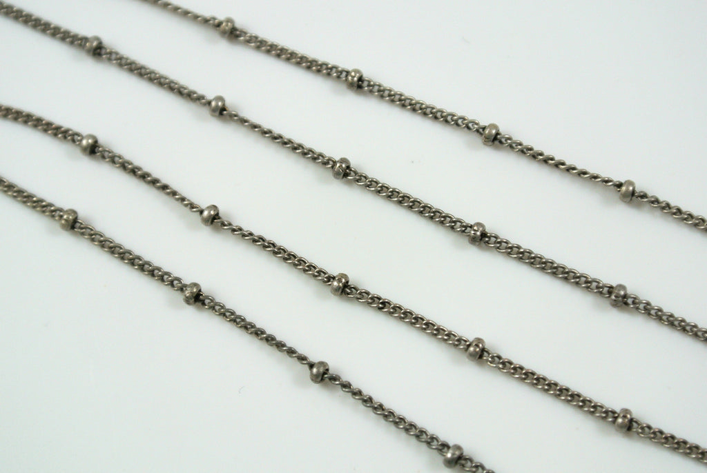 Chain Satellite Antique Silver 0.7mm Curb With 2mm Ball