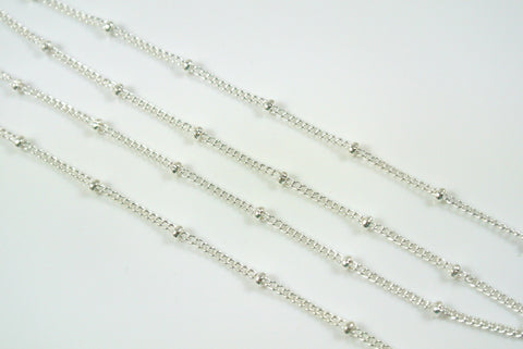 Chain Satellite Silver 0.7mm Curb With 2mm Ball
