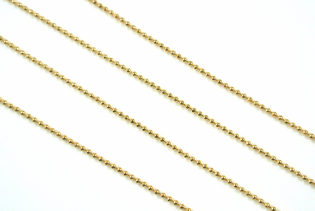 Chain Mini Ball Diamond Cut Gold 1mm