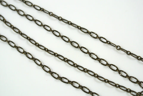 Chain Textured Oval Link Antique Brass 3x4.8mm