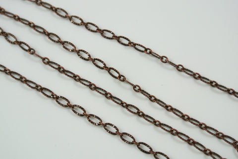 Chain Textured Oval Link Antique Copper 3x4.8mm