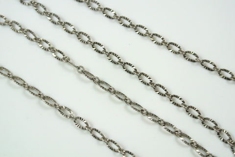 Chain Textured Oval Link Antique Silver 3x4.8mm
