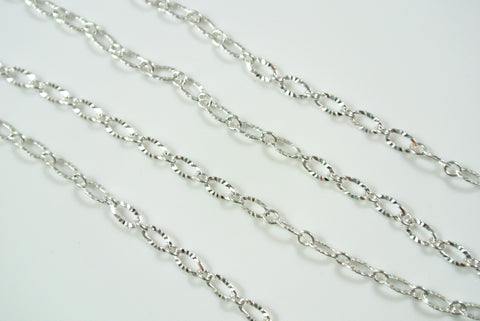 Chain Textured Oval Link Silver 3x4.8mm
