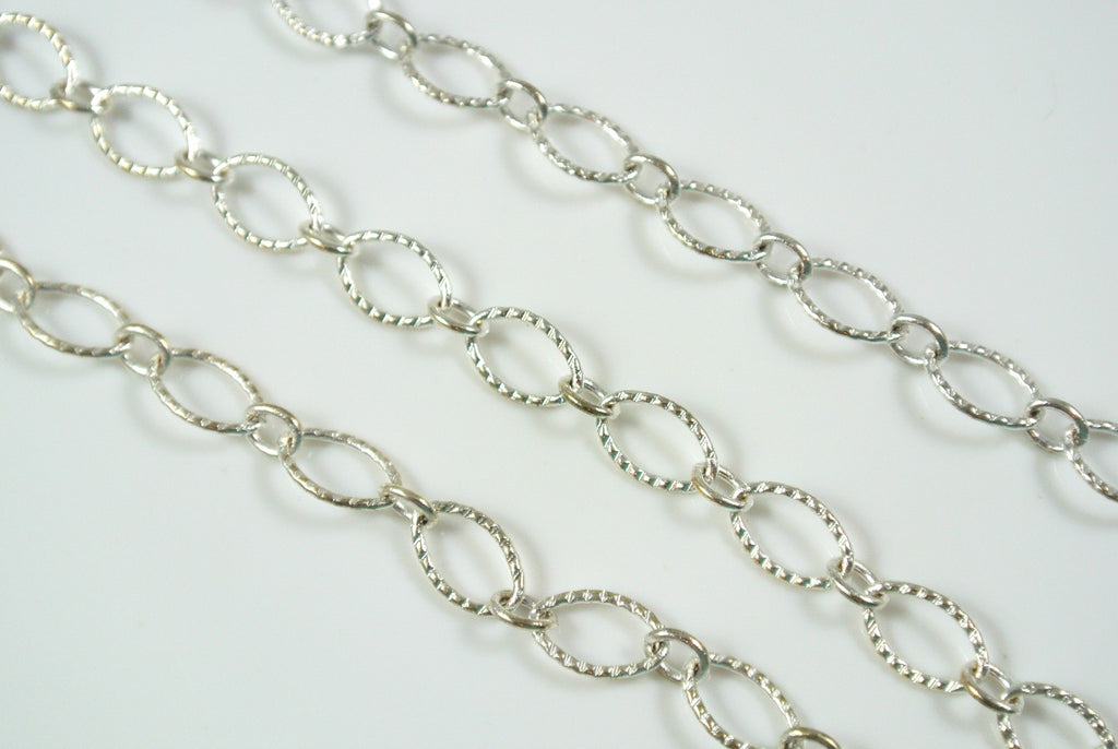Chain Textured Oval Chain Silver 9x6mm