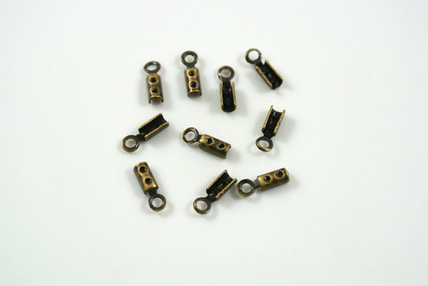 Crimp End With Loop 1mm Antique Brass Electroplated 10 Pieces