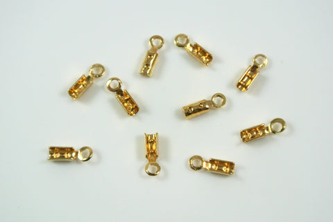 Crimp End With Loop 1mm Gold Electroplated 10 Pieces