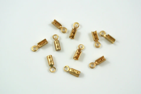 Crimp End With Loop 1mm Satin Gold Electroplated 10 Pieces