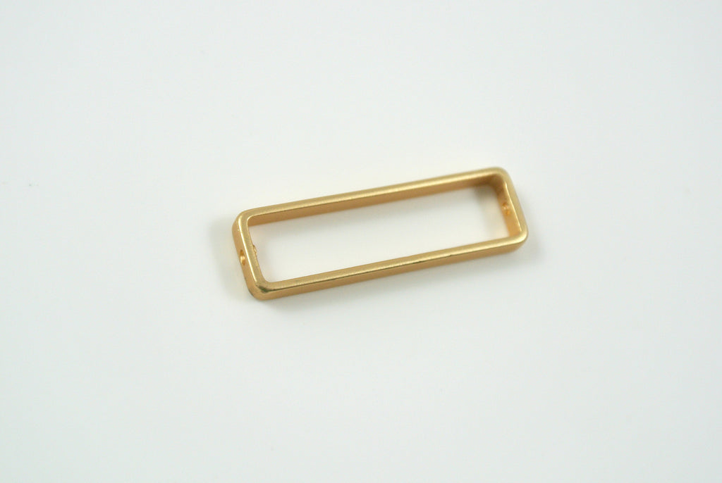 Bead Frame Rectangle 8x26mm Satin Gold Electroplated 1 Piece