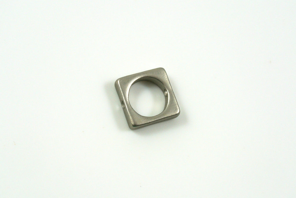 Bead Frame Square 8.5mm Satin Rhodium Electroplated 1 Piece