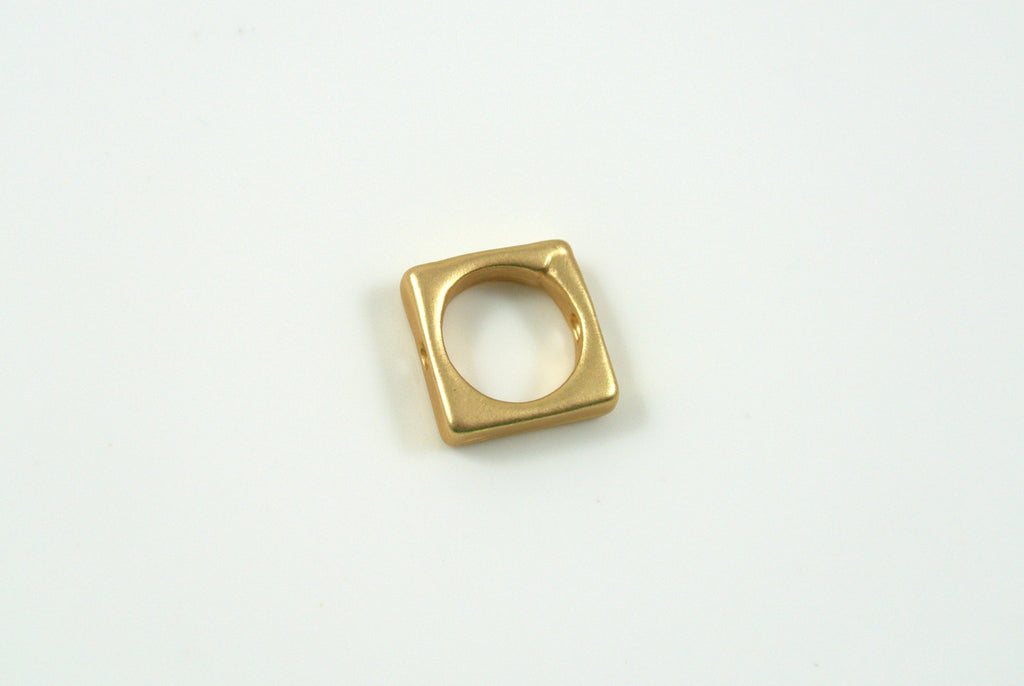 Bead Frame Square 8.5mm Satin Gold Electroplated 1 Piece