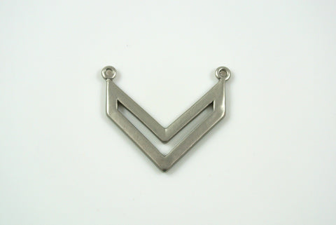 Chevron Pendant Link 20x22mm Satin Rhodium Electroplated 1 Piece